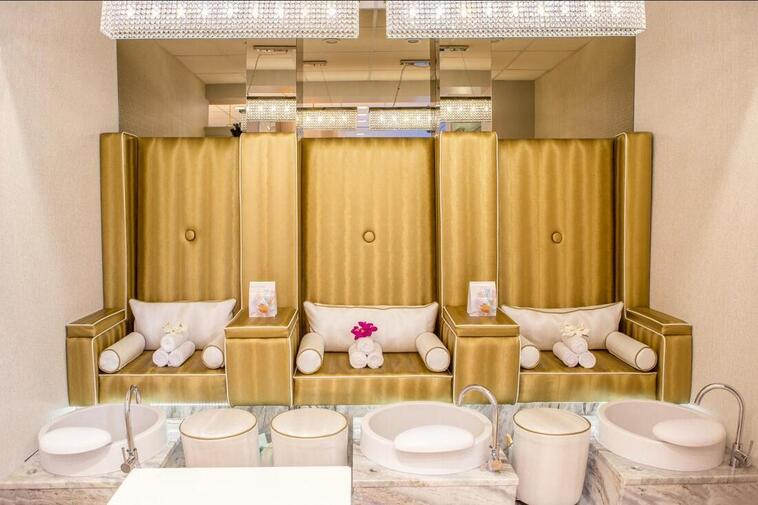 Golden chairs in salon